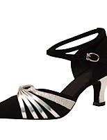 Customizable Women's Dance Shoes Flocking  Latin / Modern Sandals / Heels Customized Heel Professional / Indoor Black