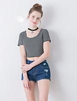 linjou linjou femmes sortir moyen simple, u printemps t-shirtstriped manches courtes cou noir / blanc polyester