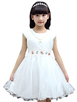 Girl's Going out Solid Dress,Cotton / Others Summer Pink / White