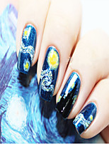 Van Gogh's Starry Sky Bright Pink  Nails Exquisite Fashion Security Is Waterproof 1Pcs