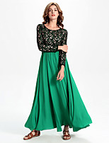 Women's Going out Street chic Swing Dress,Patchwork Round Neck Maxi Long Sleeve Green Cotton / Polyester / Spandex Fall