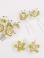 נשים ריינסטון / דמוי פנינה / בד כיסוי ראש-חתונה / אירוע מיוחד מסרקי שיער / פרחים / סיכת שיער 5 חלקים