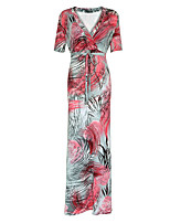 Dámské Cikánský Velké velikosti Volné Šaty Tisk,Krátký rukáv Do V Maxi Červená Polyester Jaro / Podzim High Rise Elastické Střední