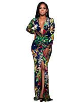 Женский Вечеринка/коктейль / Большие размеры Винтаж / Богемный Оболочка Платье Цветочный принт,Глубокий V-образный вырез МаксиДлинный