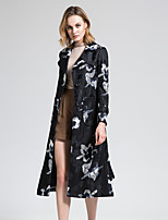 BORME Women's Shirt Collar Long Sleeve Trench Coat Black / Red-Y075