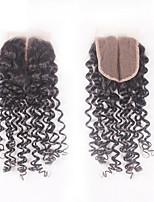 8-20inch # 1B Изготовлено вручную Прямые Человеческие волосы закрытие Умеренно-коричневый Швейцарское кружево 40-60g/pcs грамм Средние