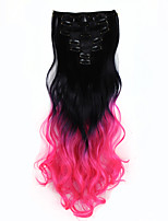 New  Wavy Curly Clip In Extension 16 Clips De Cheveux Ombre Hair Extensions BlackTPink 7pcs False Hair 130g