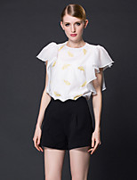 FRMZ  Women's Work Simple Summer BlouseSolid / Embroidered Round Neck Short Sleeve White