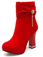 נשים-מגפיים-דמוי עור-מגפי אופנה-שחור / אדום-משרד ועבודה / קז'ואל-עקב עבה