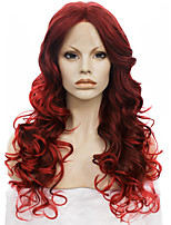 IMSTYLE 24New Arrival Beautiful Long Dark Wine Wave Synthetic Hair Wig Lace Front