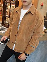Мужской Хлопок Куртка На каждый день / Для занятий спортом,С принтом / Однотонный,Длинный рукав,Коричневый / Желтый / Серый