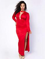 Gaine Robe Femme Décontracté / Quotidien / Grandes Tailles simple,Couleur Pleine Col en V Maxi Manches Longues Rouge / Noir Polyester