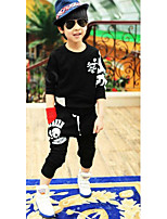 Girl's Casual/Daily Solid Hoodie & Sweatshirt / Pants / Clothing SetCotton Spring / Fall Black / Orange / Gray