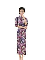 Classic & Traditional Lolita Skirt Half-Sleeve Long Length Purple Lolita Dress Silk
