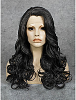 IMSTYLE Natural Looking Black Long Wave Synthetic Lace Front Wigs