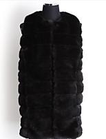 Women's Plus Size Simple Fur CoatSolid Round Neck Sleeveless Fall Beige / Black Faux Fur Medium