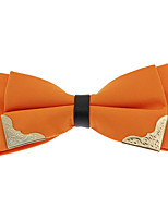 Men Pre-tied Golden-Metal-Edged Double Layer Bow Ties