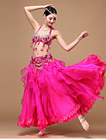 Belly Dance Outfits Women's Performance Chiffon / Polyester / Sequined Beading / Draped / Paillettes 3 Pieces