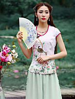 Our Story  Going out Chinoiserie Summer T-shirtEmbroidered Sweetheart Short Sleeve White Polyester Medium