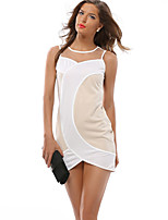 Fashion Ladies Perspective Mosaic / Sleeveless Dress / Waist Dress