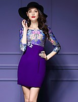 Women's Plus Size / Casual/Daily Sexy Sheath Dress,Floral Round Neck Above Knee ¾ Sleeve Purple Polyester Fall