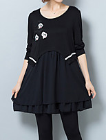 Women's Plus Size / Casual/Daily Vintage Loose DressPatchwork Round Neck Above Knee Long Sleeve Black Polyester