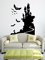 Personality Halloween Series Bat Castle Wall Stickers Bedroom Living Room Decorative Sticker Removable Waterproof