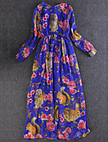 Boutique S Women'sA Line DressPrint Round Neck Maxi Long Sleeve Blue / Red Polyester Fall Mid Rise Inelastic Medium
