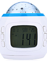 3W DC 1.5V Music and Starry Star Sky Calendar LED Projection Lamp with Alarm Clock Thermometer