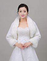 Women's Wrap Shrugs Long Sleeve Faux Fur Ivory Wedding Fold-over Collar 34cm Feathers / fur Open Front