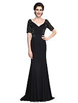 Lanting Bride®Trumpet / Mermaid Mother of the Bride Dress - Elegant Sweep / Brush Train Short Sleeve Jersey with Beading / Ruching