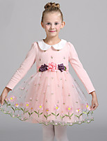 Girl's Casual/Daily Floral DressCotton / Polyester Winter / Fall Pink / Purple