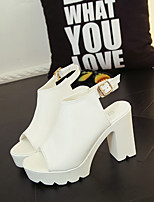 Women's Sandals Summer Ankle Strap Leatherette Casual Chunky Heel Others Black White Others
