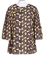 Goelia® Женский Круглый вырез 1/2 Длина рукава Рубашка и Блузка Вино-167C3C040