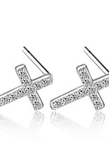 Earring Cross Jewelry Women Sexy / Fashion / Adorable / Personality Wedding / Party / Daily / Casual / Sports Silver Plated 1 pair Silver