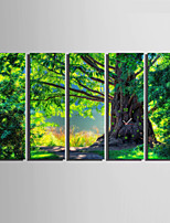 E-HOME® Green Trees Clock in Canvas 5pcs