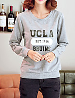 Women's Casual/Daily Vintage Regular HoodiesLetter Black / Gray Round Neck Long Sleeve Polyester All Seasons
