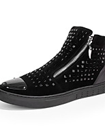 Men's Flats Spring Fall Comfort Glitter Fabric Outdoor Casual Flat Heel Rivet Black Walking