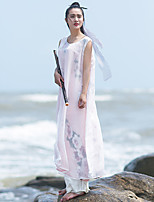 Ramie Cotton Women's Casual/Daily Chinoiserie Loose DressFloral Round Neck Maxi Sleeveless Pink Others Mid Rise