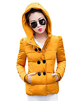Women's Solid Plus Size Hin Thin Double-breasted Padded Coat Simple / Street chic Hooded Long Sleeve