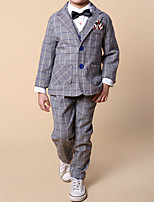 Boy's Casual/Daily Check Clothing SetCotton Spring / Fall Blue / Gray