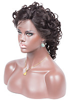 No shedding No tangle Loose Wavy Natural Color Short Wig Light Brown Swiss Lace 130% density Human Hair Lace Front Wig