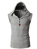 Men's  Summer Solid Color Casual Tank Tops Cotton Sleeveless Hooded Vest
