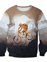 Men's Print Casual / Work Sweatshirt,Cotton Long Sleeve Gray
