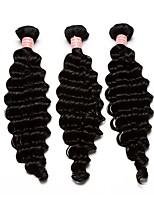 Natural Color Deep Wave Mongolian Virgin Human Hair Weave 3pcs Bundles 10-28
