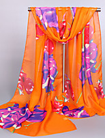 Women's Chiffon Flowers Print Scarf Orange/Blue/Pink/White/Yellow