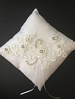 White 1 Ribbons Faux Pearl Rhinestones Embroidery Satin Lace