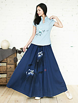 Ramie Cotton Women's Floral Blue SkirtsCute / Chinoiserie Maxi