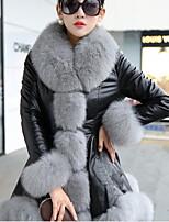 Women's Casual/Daily Simple Fur Coat,Solid Peter Pan Collar Long Sleeve Winter White / Beige / Gray PU Medium