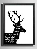 E-HOME® Framed Canvas Art, Deer Theme Black And White Series Framed Canvas Print One Pcs